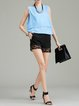 Linen Plain Cutout Casual Shorts