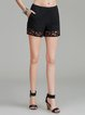 Black Cutout Casual Linen Plain Shorts