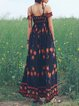 Multicolor Swing BateauNeck Printed High-waist Maxi Dress