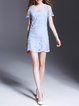Light Blue A-line Short Sleeve Embroidered Mini Dress
