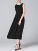 A-line Casual Plain Sleeveless Midi Dress