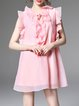 Pink V Neck Ruffled Shift Frill Sleeve Mini Dress