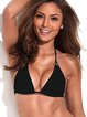 Black Grommets Plain Halter Triangle Bikini
