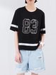 Black Crew Neck Printed Casual T-Shirt