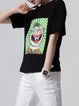 Black Short Sleeve Cotton Cartoon Printed T-Shirt