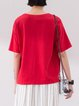 Red Crew Neck Half Sleeve Shift T-Shirt
