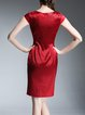 Red Silk Paneled Elegant Midi Dress