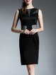 Black Elegant Sheath Zipper Midi Dress