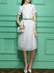 White Work Zipper Midi Dress with Belt