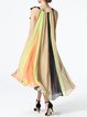 Multicolor Swing Chiffon Sleeveless Bandage Midi Dress