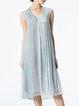 Gray Paneled Sleeveless Plain Silk Midi Dress