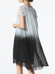 Blue Short Sleeve Shift Midi Dress