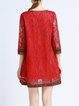 Red Vintage V Neck Crocheted Mini Dress