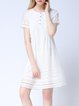 White Short Sleeve Crew Neck Pierced A-line Mini Dress