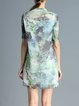 Multicolor Silk-blend H-line Stand Collar Vintage Mini Dress