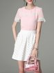 Pink Two Piece Crew Neck Short Sleeve Mini Dress