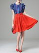 Multicolor Ribbed Frill Sleeve Two Piece Mini Dress with Belt