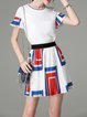 Two Piece Ribbed Frill Sleeve Sweet Crew Neck Mini Dress