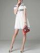 White Simple Crew Neck Plain Embroidered Mini Dress