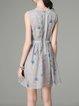 Gray A-line Organza Casual Floral Mini Dress