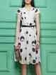 Apricot Stand Collar Casual Printed Midi Dress with Belt