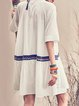 White Shirt Collar Bandage Sweet Midi Dress