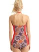 Red Halter Color-block Tribal One-Piece
