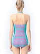 Color-block Tribal Padded Halter One-Piece