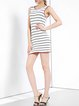 White Polyester Crew Neck Sleeveless Mini Dress