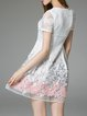 White A-line Floral Casual Mini Dress