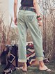 Blue Pockets Cotton Casual Straight Leg Pants