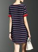 Multicolor Short Sleeve Stripes Silk Mini Dress
