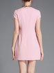 Pink Girly Crew Neck Beaded Mini Dress