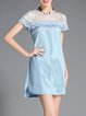 Blue Crew Neck Paneled Short Sleeve H-line Mini Dress