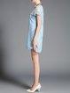 Blue Polyester Pierced Crew Neck Sweet Mini Dress