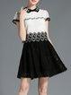 Peter Pan Collar Short Sleeve Pierced Girly Mini Dress