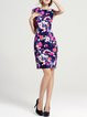 Multicolor Sheath Floral Short Sleeve Cotton-blend Mini Dress