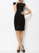 Black Plain Crew Neck Work Sheath Midi Dress