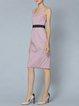 Pink Two Piece Slit Sleeveless Cotton-blend Midi Dress