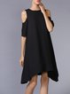 Plus Size Black Asymmetrical Cutout Cold Shoulder Half Sleeve Midi Dress
