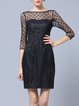 Black Polka Dots Elegant Crew Neck Mini Dress