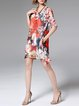 Multicolor Polyester Floral-print Casual Midi Dress
