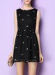 Black Embroidered Crew Neck Sweet Polyester Mini Dress