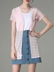 Pink Polyester Plain Short Sleeve Coat