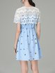 Light Blue A-line Embroidered Girly Mini Dress