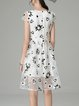 White Girly Floral-print Floral Midi Dress