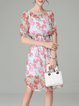 Printed Two Piece Half Sleeve Shirred Midi Dress