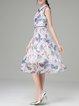 Floral-print Sleeveless Girly Midi Dress