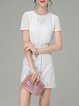 White Girly Two Piece Embroidered Mini Dress