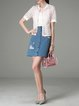 Lace Sweet Cutout Short Sleeve Stand Collar Short Sleeved Top